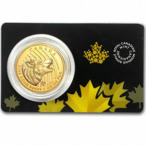 1 oz Royal Canadian Mint Wolf Gold Coin In Assay Card .99999